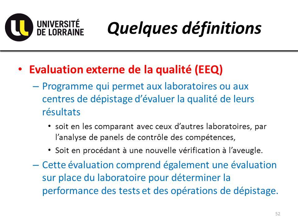 Quelques définitions Evaluation externe de la qualité (EEQ) – Programme qui permet aux laboratoires ou aux centres de dépistage dévaluer la qualité de leurs résultats soit en les comparant avec ceux dautres laboratoires, par lanalyse de panels de contrôle des compétences, Soit en procédant à une nouvelle vérification à laveugle.