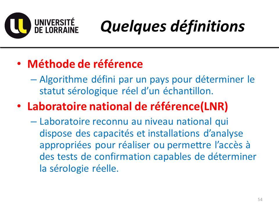 Quelques définitions Méthode de référence – Algorithme défini par un pays pour déterminer le statut sérologique réel dun échantillon. Laboratoire nati