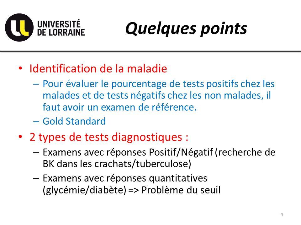 Quelques points 9 Identification de la maladie – Pour évaluer le pourcentage de tests positifs chez les malades et de tests négatifs chez les non malades, il faut avoir un examen de référence.