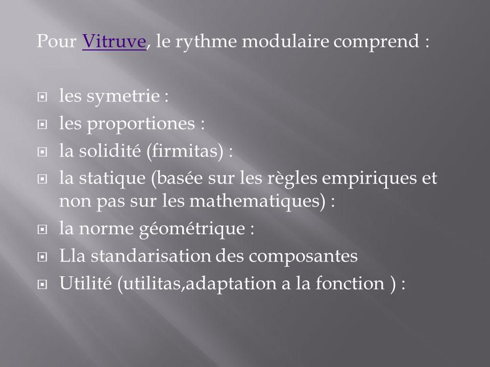 Pour Vitruve, le rythme modulaire comprend :Vitruve les symetrie : les proportiones : la solidité (firmitas) : la statique (basée sur les règles empir
