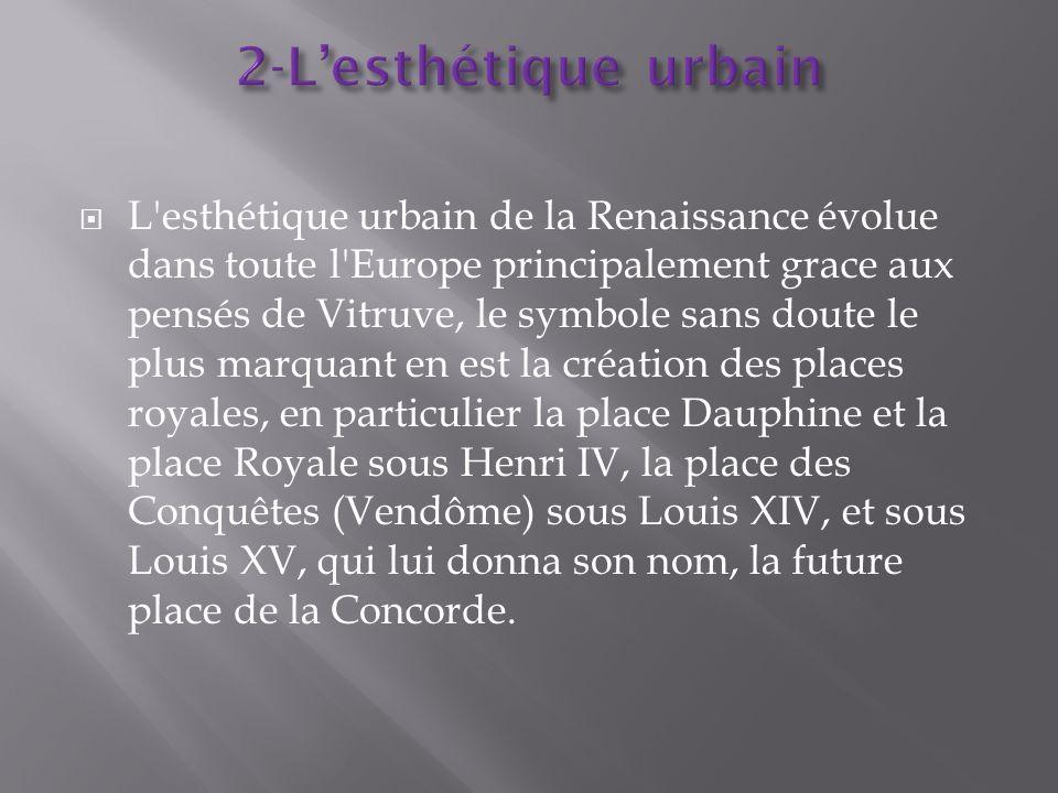 L'esthétique urbain de la Renaissance évolue dans toute l'Europe principalement grace aux pensés de Vitruve, le symbole sans doute le plus marquant en