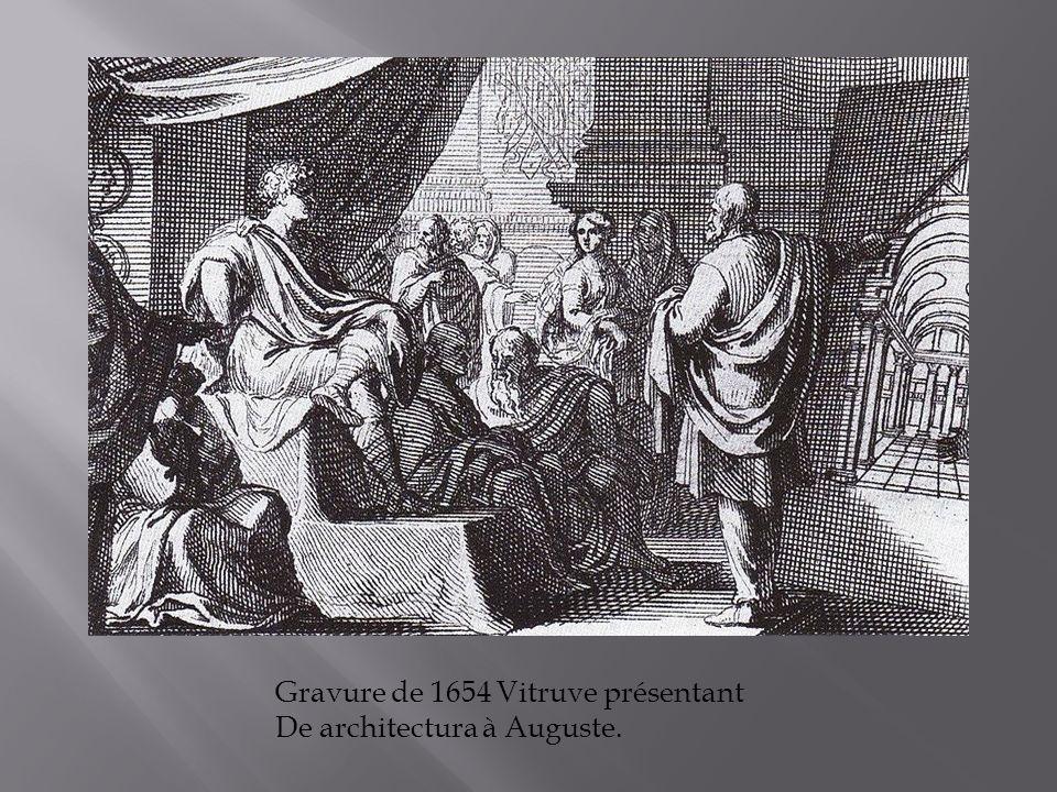 Gravure de 1654 Vitruve présentant De architectura à Auguste.