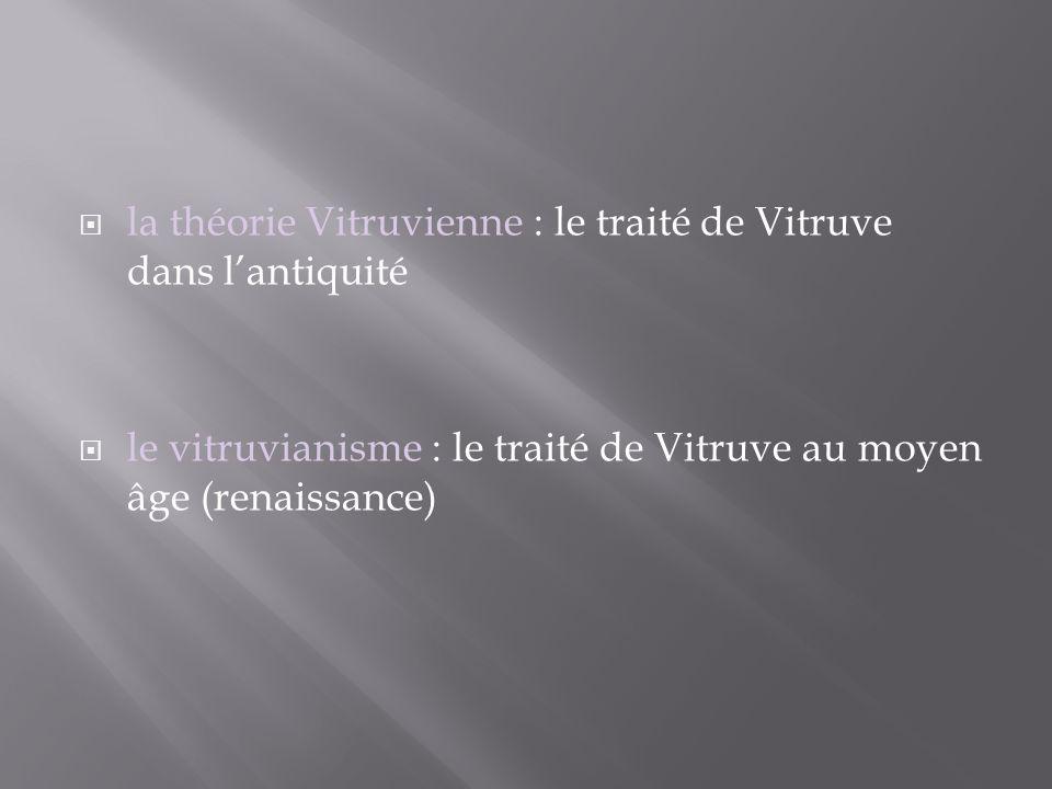 la théorie Vitruvienne : le traité de Vitruve dans lantiquité le vitruvianisme : le traité de Vitruve au moyen âge (renaissance)