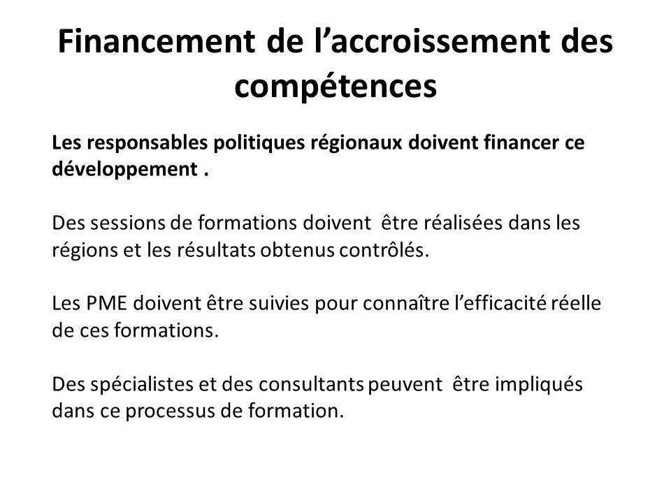 Financement de laccroissement des compétences Les responsables politiques régionaux doivent financer ce développement.