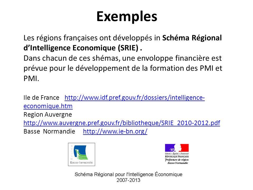 Exemples Les régions françaises ont développés in Schéma Régional dIntelligence Economique (SRIE).