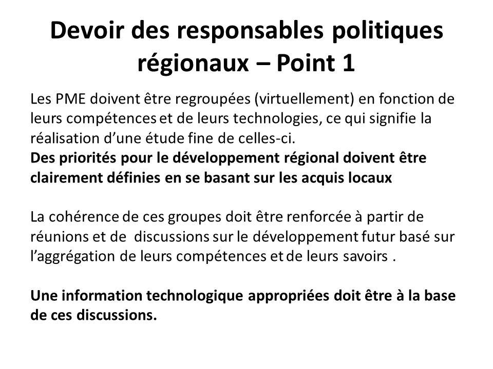 Devoir des responsables politiques régionaux – Point 1 Les PME doivent être regroupées (virtuellement) en fonction de leurs compétences et de leurs technologies, ce qui signifie la réalisation dune étude fine de celles-ci.