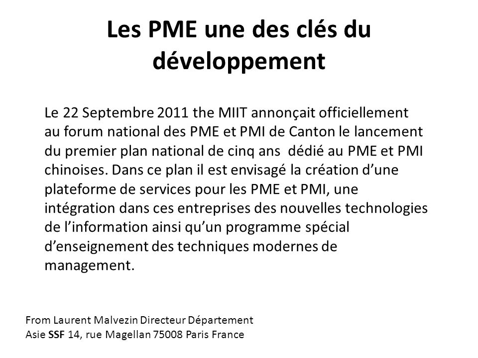 Les PME doivent croître et innover De nombreux rapports dans le monde soulignent limportance des PME et de leur croissance.