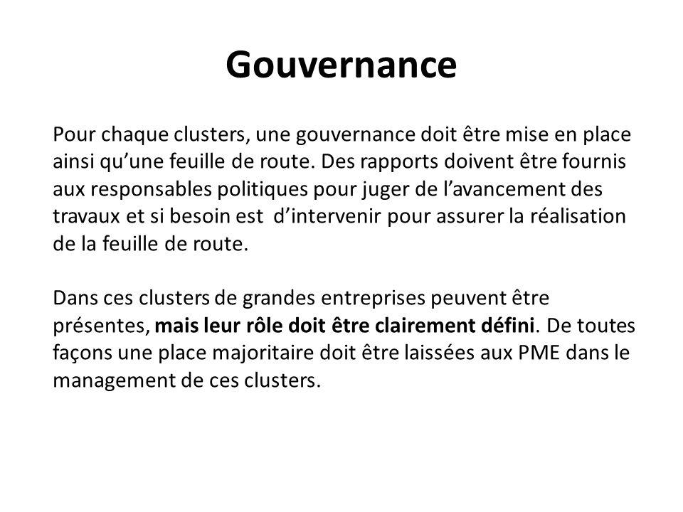 Gouvernance Pour chaque clusters, une gouvernance doit être mise en place ainsi quune feuille de route.