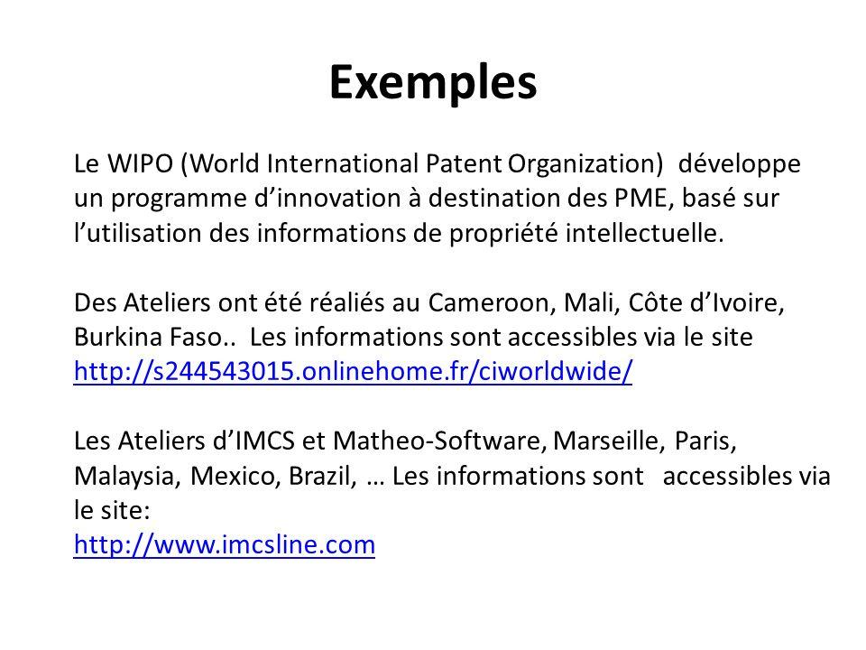 Exemples Le WIPO (World International Patent Organization) développe un programme dinnovation à destination des PME, basé sur lutilisation des informations de propriété intellectuelle.