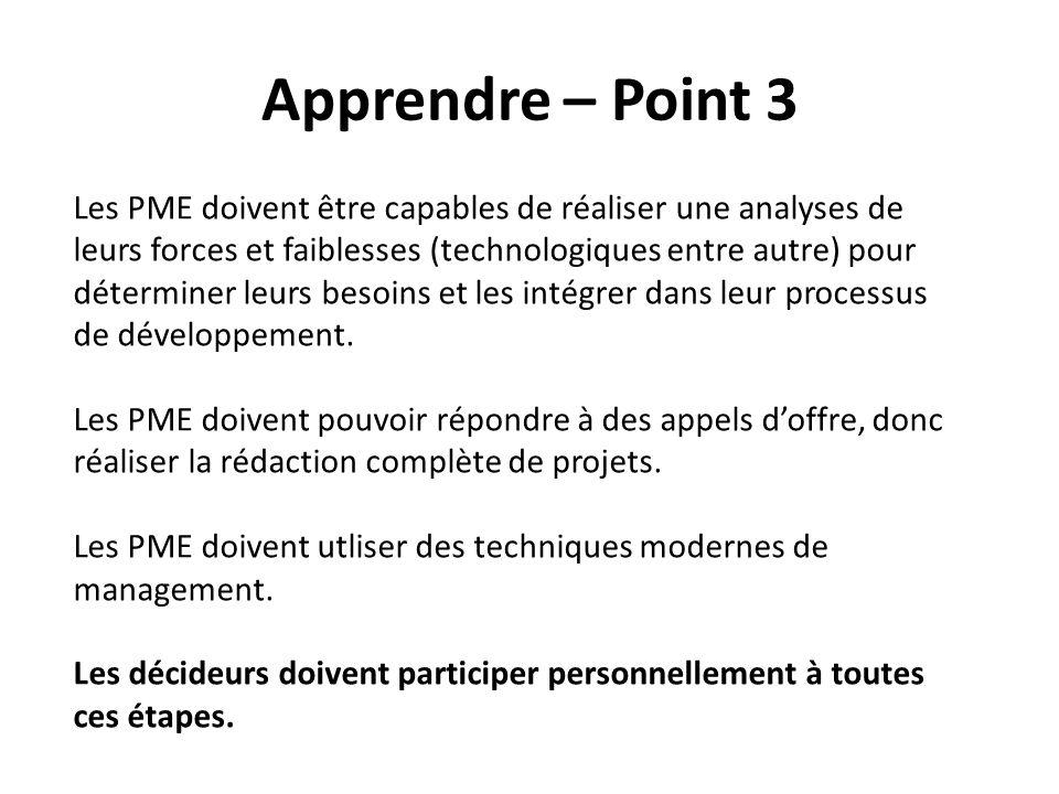 Apprendre – Point 3 Les PME doivent être capables de réaliser une analyses de leurs forces et faiblesses (technologiques entre autre) pour déterminer leurs besoins et les intégrer dans leur processus de développement.