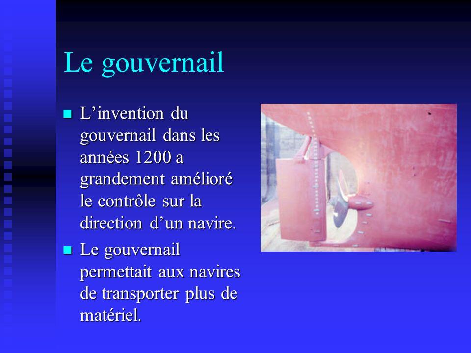 Le gouvernail Linvention du gouvernail dans les années 1200 a grandement amélioré le contrôle sur la direction dun navire. Linvention du gouvernail da