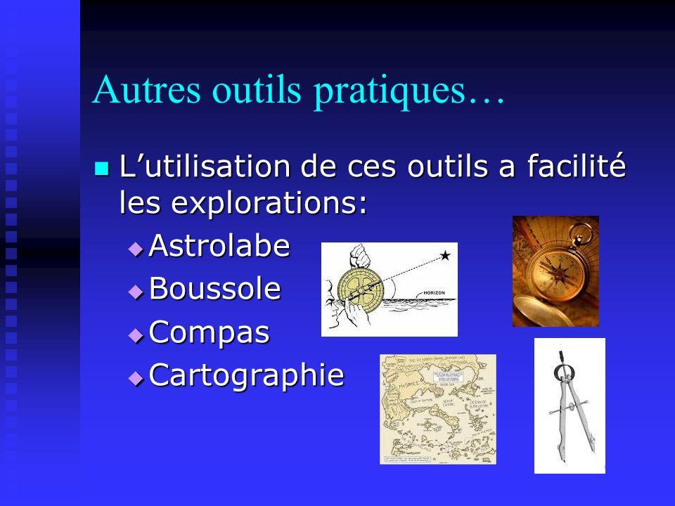 Autres outils pratiques… Lutilisation de ces outils a facilité les explorations: Lutilisation de ces outils a facilité les explorations: Astrolabe Astrolabe Boussole Boussole Compas Compas Cartographie Cartographie
