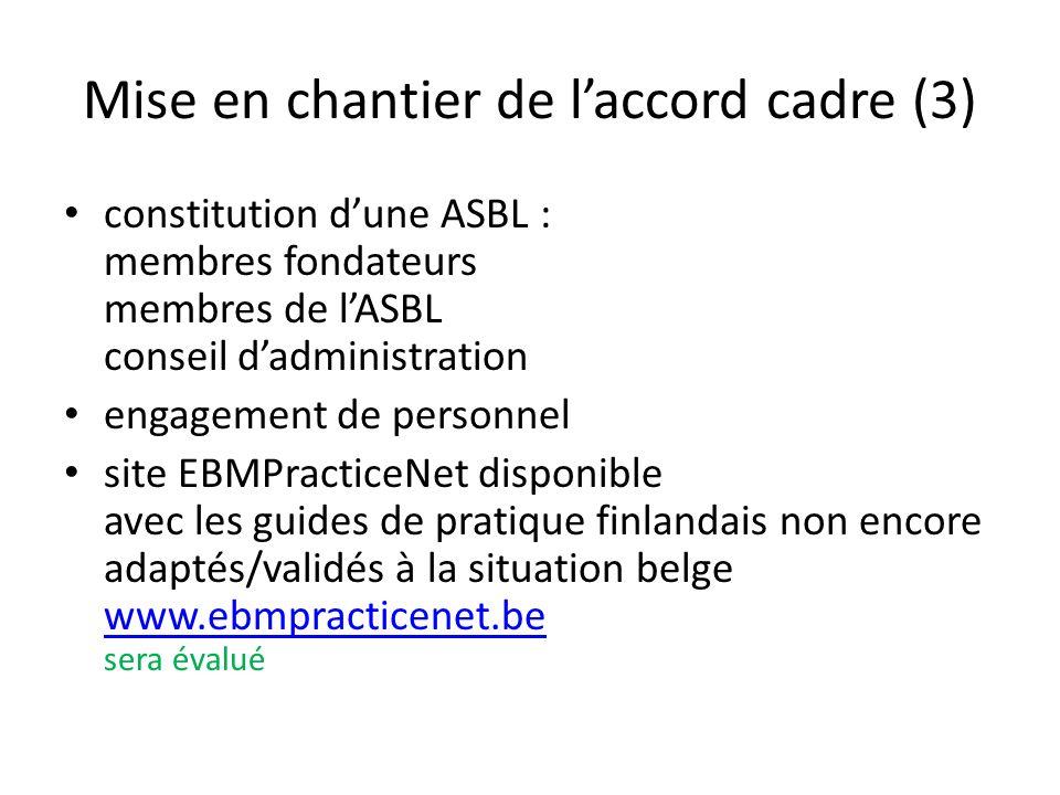 Mise en chantier de laccord cadre (3) constitution dune ASBL : membres fondateurs membres de lASBL conseil dadministration engagement de personnel site EBMPracticeNet disponible avec les guides de pratique finlandais non encore adaptés/validés à la situation belge www.ebmpracticenet.be sera évalué www.ebmpracticenet.be