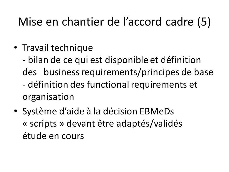 Mise en chantier de laccord cadre (5) Travail technique - bilan de ce qui est disponible et définition des business requirements/principes de base - définition des functional requirements et organisation Système daide à la décision EBMeDs « scripts » devant être adaptés/validés étude en cours