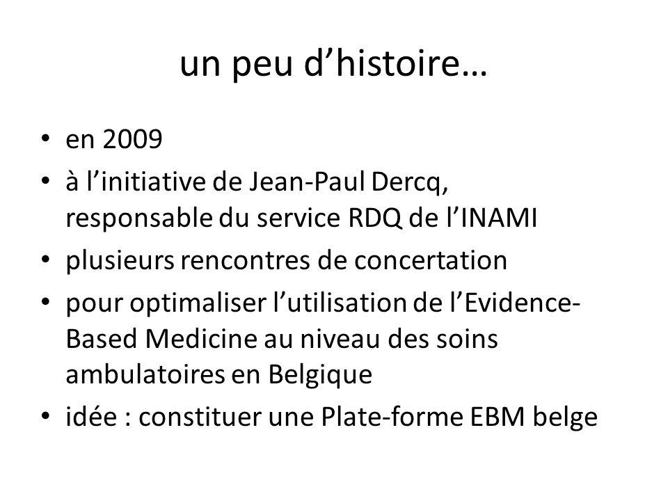 un peu dhistoire… en 2009 à linitiative de Jean-Paul Dercq, responsable du service RDQ de lINAMI plusieurs rencontres de concertation pour optimaliser lutilisation de lEvidence- Based Medicine au niveau des soins ambulatoires en Belgique idée : constituer une Plate-forme EBM belge