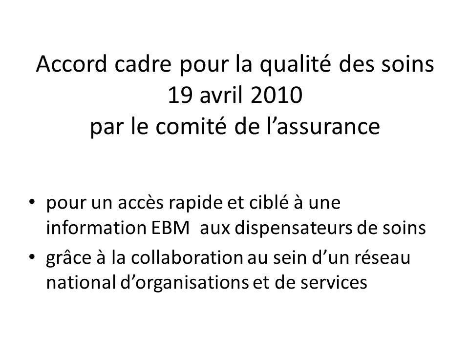 Accord cadre pour la qualité des soins 19 avril 2010 par le comité de lassurance pour un accès rapide et ciblé à une information EBM aux dispensateurs de soins grâce à la collaboration au sein dun réseau national dorganisations et de services