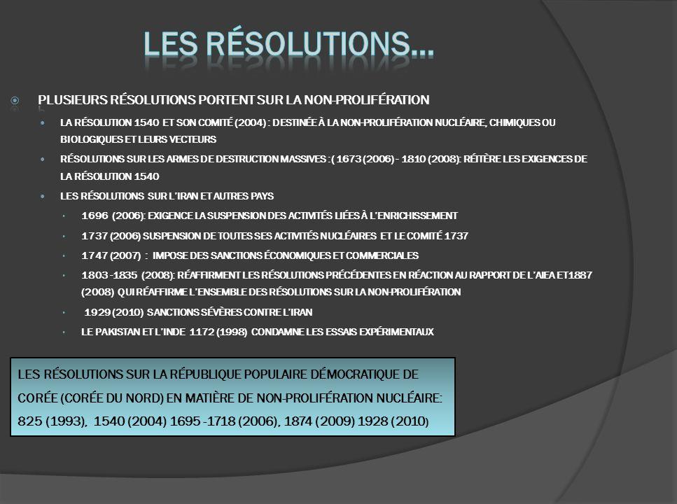 LES RÉSOLUTIONS SUR LA RÉPUBLIQUE POPULAIRE DÉMOCRATIQUE DE CORÉE (CORÉE DU NORD) EN MATIÈRE DE NON-PROLIFÉRATION NUCLÉAIRE: 825 (1993), 1540 (2004) 1695 -1718 (2006), 1874 (2009) 1928 (2010 )