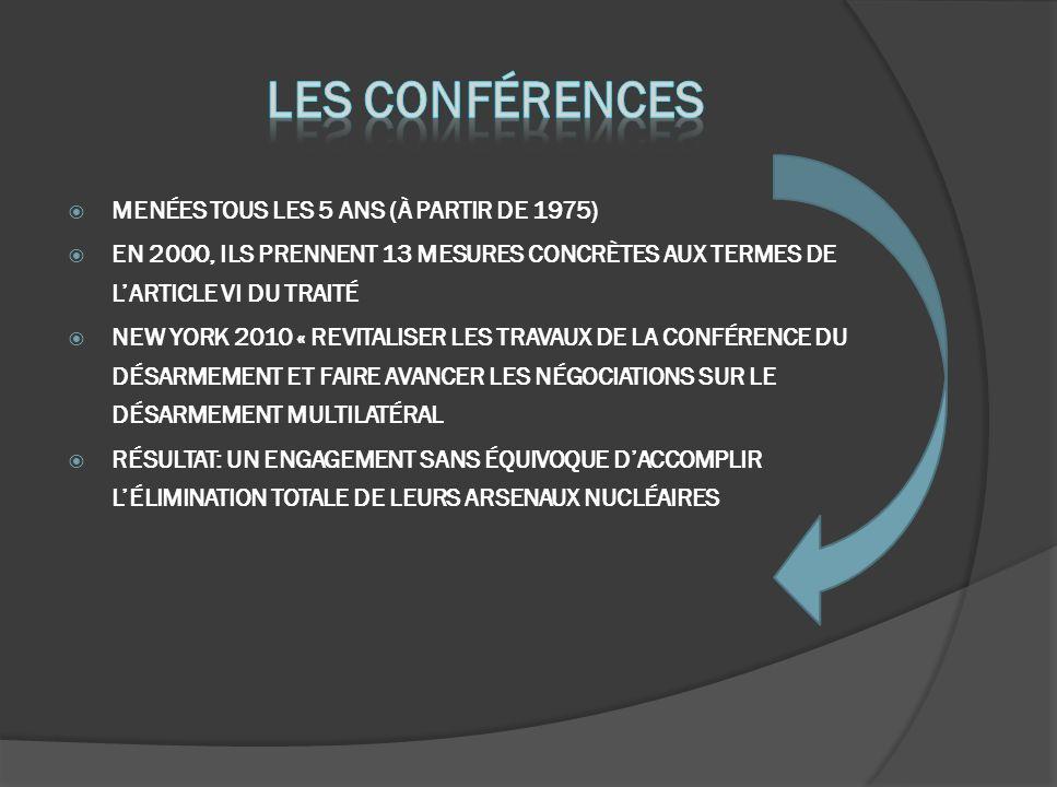 MENÉES TOUS LES 5 ANS (À PARTIR DE 1975) EN 2000, ILS PRENNENT 13 MESURES CONCRÈTES AUX TERMES DE LARTICLE VI DU TRAITÉ NEW YORK 2010 « REVITALISER LES TRAVAUX DE LA CONFÉRENCE DU DÉSARMEMENT ET FAIRE AVANCER LES NÉGOCIATIONS SUR LE DÉSARMEMENT MULTILATÉRAL RÉSULTAT: UN ENGAGEMENT SANS ÉQUIVOQUE DACCOMPLIR LÉLIMINATION TOTALE DE LEURS ARSENAUX NUCLÉAIRES