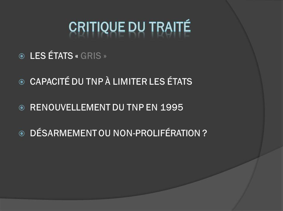 LES ÉTATS « GRIS » CAPACITÉ DU TNP À LIMITER LES ÉTATS RENOUVELLEMENT DU TNP EN 1995 DÉSARMEMENT OU NON-PROLIFÉRATION