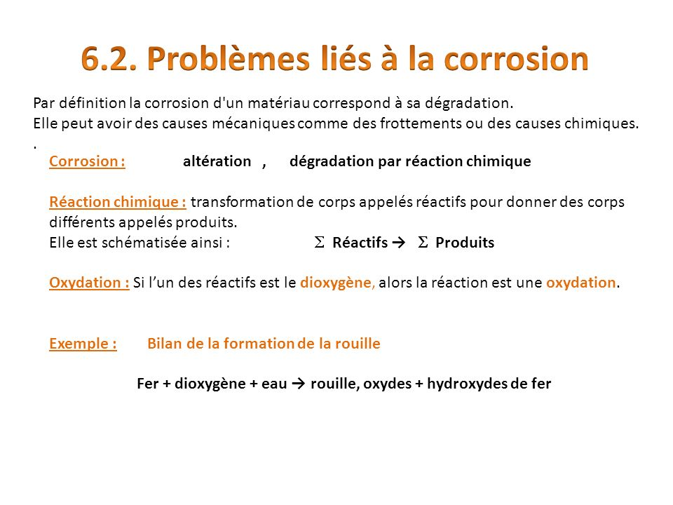 Par définition la corrosion d un matériau correspond à sa dégradation.