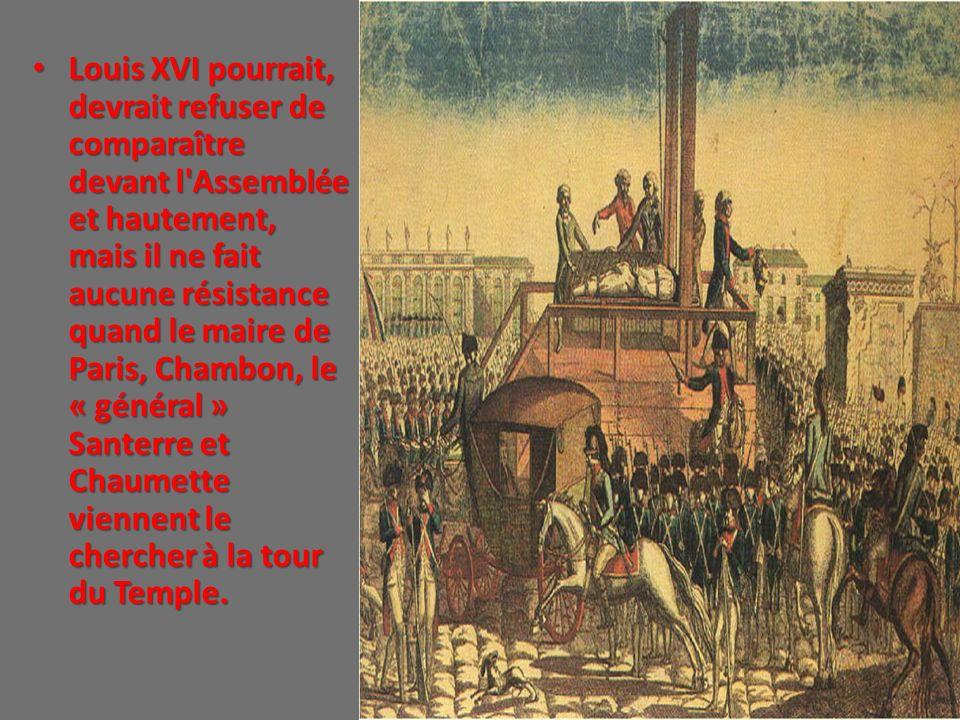 Louis XVI pourrait, devrait refuser de comparaître devant l'Assemblée et hautement, mais il ne fait aucune résistance quand le maire de Paris, Chambon