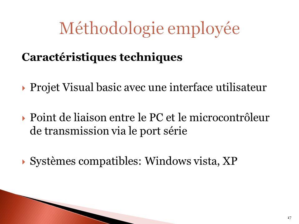 Caractéristiques techniques Projet Visual basic avec une interface utilisateur Point de liaison entre le PC et le microcontrôleur de transmission via