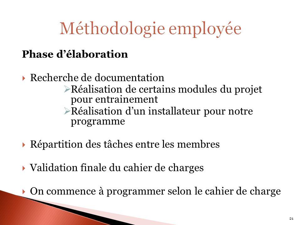 Phase délaboration Recherche de documentation Réalisation de certains modules du projet pour entrainement Réalisation dun installateur pour notre prog