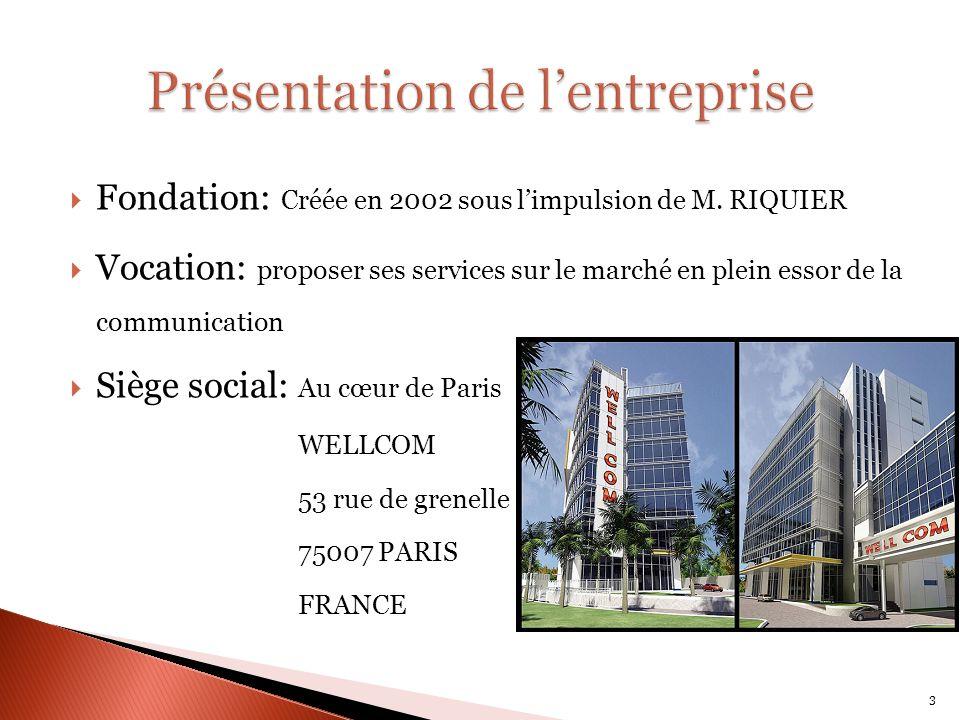 Fondation: Créée en 2002 sous limpulsion de M. RIQUIER Vocation: proposer ses services sur le marché en plein essor de la communication Siège social: