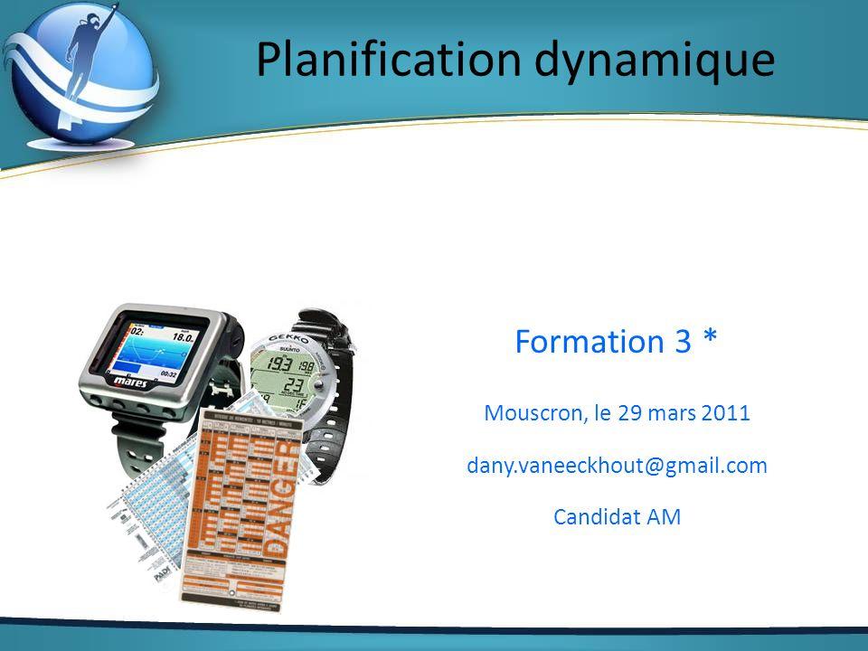 Planification dynamique Formation 3 * Mouscron, le 29 mars 2011 dany.vaneeckhout@gmail.com Candidat AM