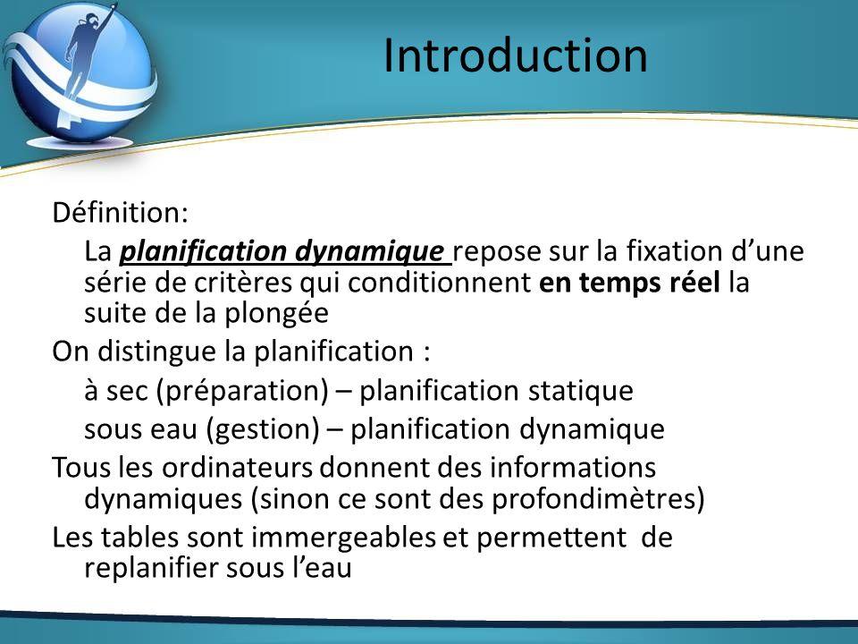Introduction Définition: La planification dynamique repose sur la fixation dune série de critères qui conditionnent en temps réel la suite de la plong