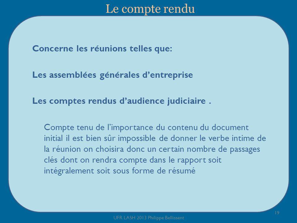 Le compte rendu Concerne les réunions telles que: Les assemblées générales dentreprise Les comptes rendus daudience judiciaire.
