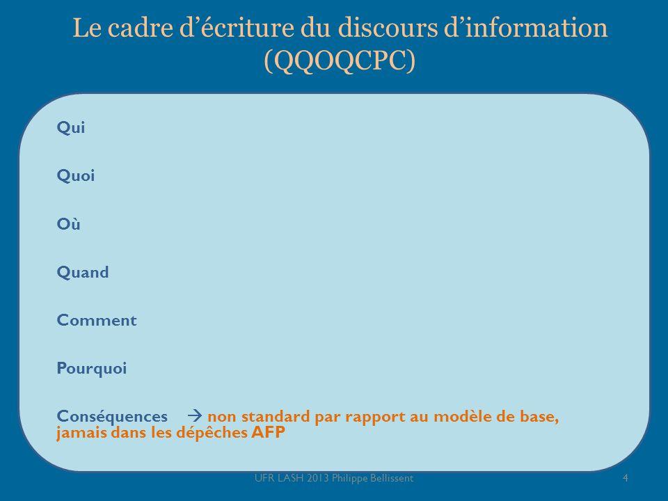Le cadre décriture du discours dinformation (QQOQCPC) 4UFR LASH 2013 Philippe Bellissent Qui Quoi Où Quand Comment Pourquoi Conséquences non standard par rapport au modèle de base, jamais dans les dépêches AFP