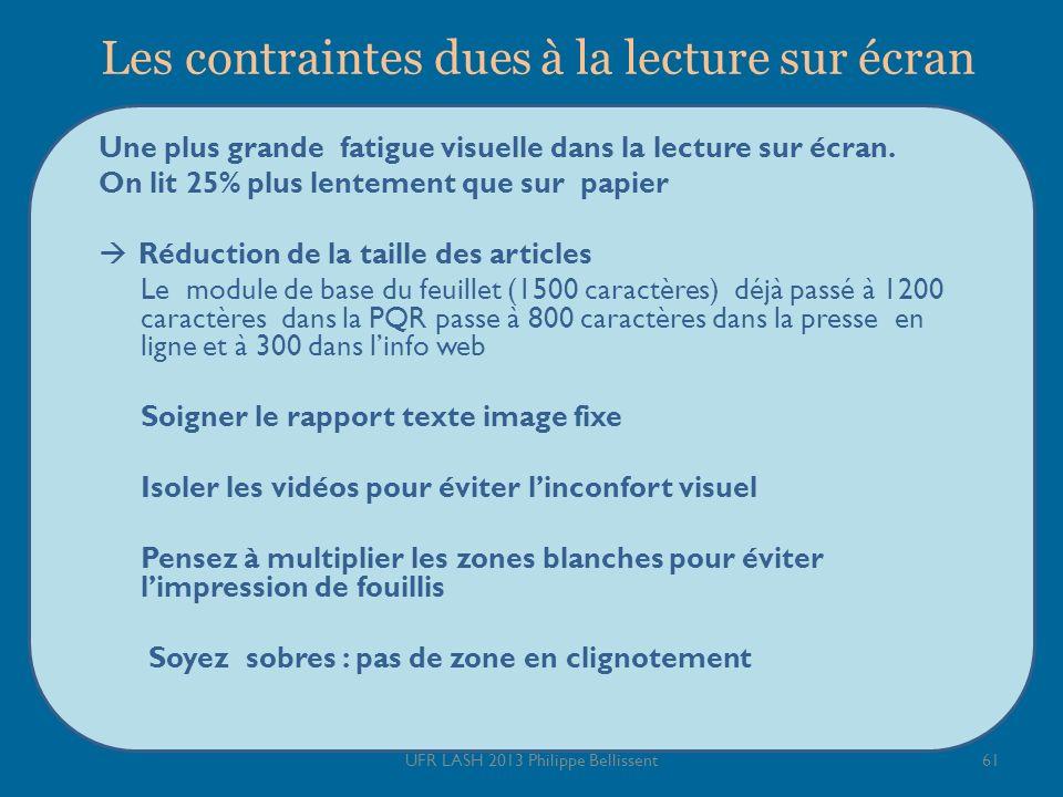 Les contraintes dues à la lecture sur écran Une plus grande fatigue visuelle dans la lecture sur écran. On lit 25% plus lentement que sur papier Réduc