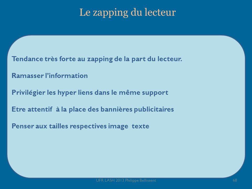 Le zapping du lecteur Tendance très forte au zapping de la part du lecteur.