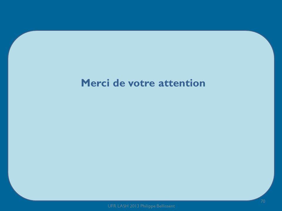 Merci de votre attention 70 UFR LASH 2013 Philippe Bellissent