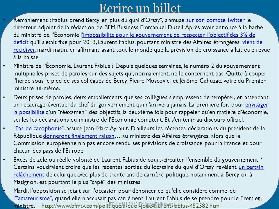 Ecrire un billet Remaniement : Fabius prend Bercy en plus du quai d Orsay , s amuse sur son compte Twitter le directeur adjoint de la rédaction de BFM Business Emmanuel Duteil.