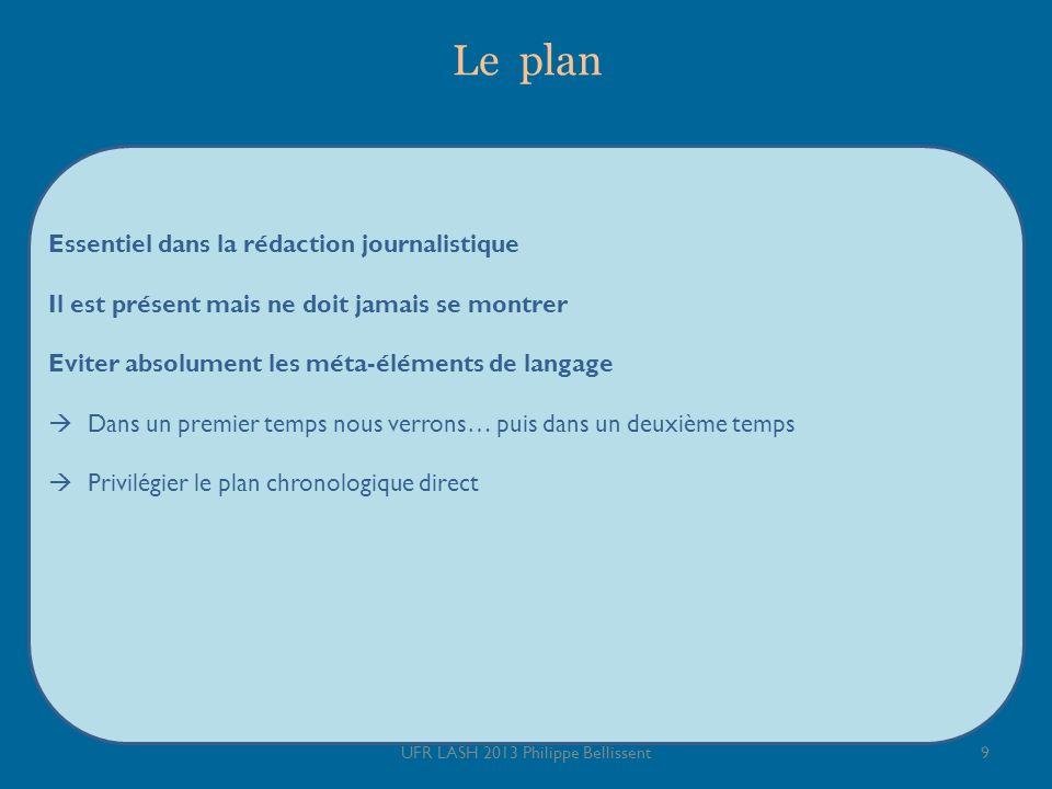 Le plan Essentiel dans la rédaction journalistique Il est présent mais ne doit jamais se montrer Eviter absolument les méta-éléments de langage Dans u