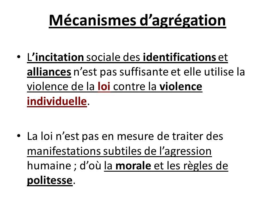 Mécanismes dagrégation Lincitation sociale des identifications et alliances nest pas suffisante et elle utilise la violence de la loi contre la violen