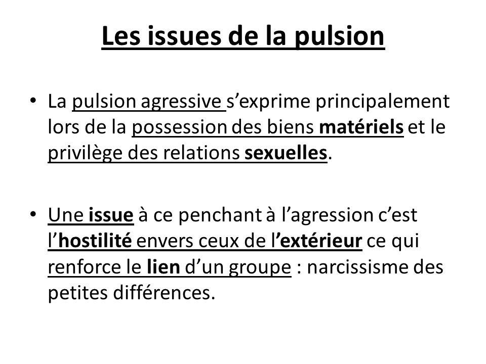 Les issues de la pulsion La pulsion agressive sexprime principalement lors de la possession des biens matériels et le privilège des relations sexuelle