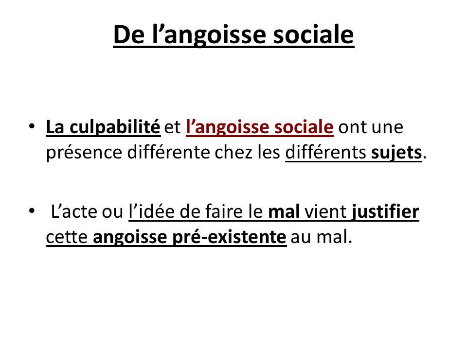 De langoisse sociale La culpabilité et langoisse sociale ont une présence différente chez les différents sujets. Lacte ou lidée de faire le mal vient