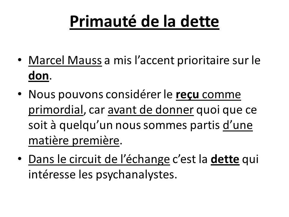 Primauté de la dette Marcel Mauss a mis laccent prioritaire sur le don. Nous pouvons considérer le reçu comme primordial, car avant de donner quoi que