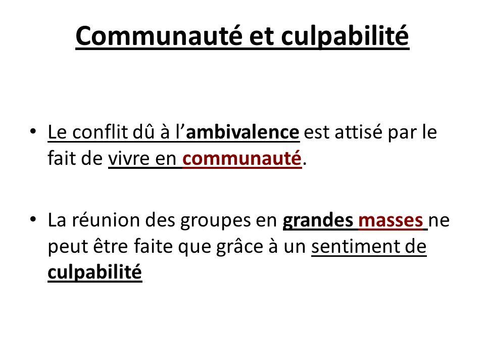 Communauté et culpabilité Le conflit dû à lambivalence est attisé par le fait de vivre en communauté. La réunion des groupes en grandes masses ne peut