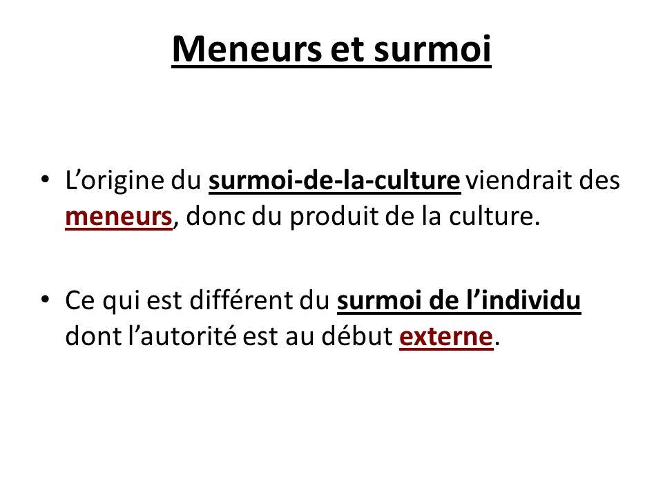 Meneurs et surmoi Lorigine du surmoi-de-la-culture viendrait des meneurs, donc du produit de la culture. Ce qui est différent du surmoi de lindividu d