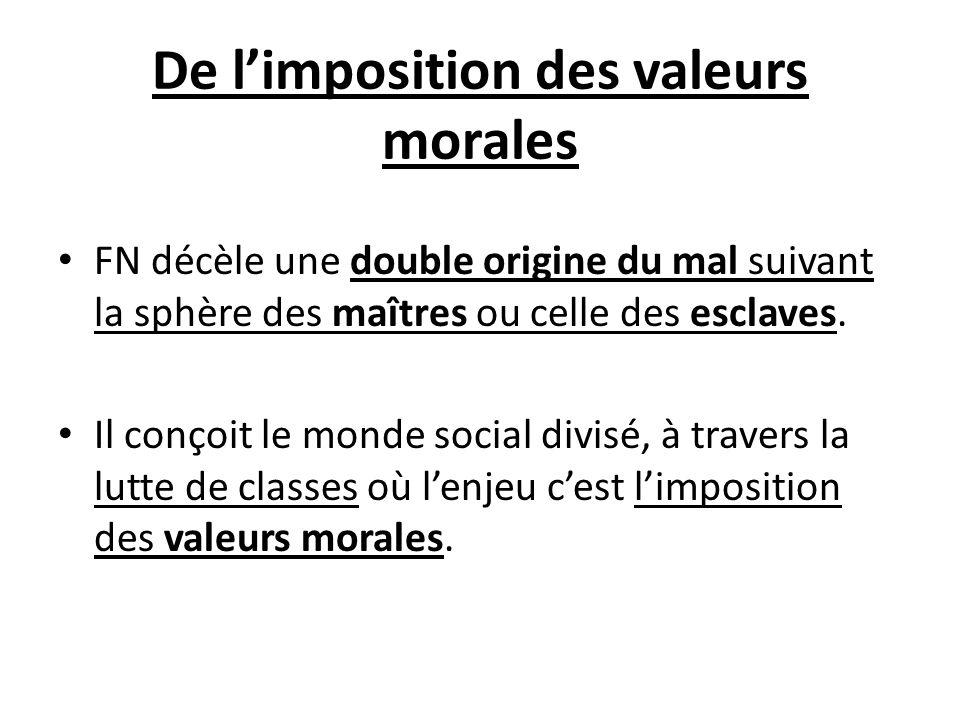 De limposition des valeurs morales FN décèle une double origine du mal suivant la sphère des maîtres ou celle des esclaves. Il conçoit le monde social