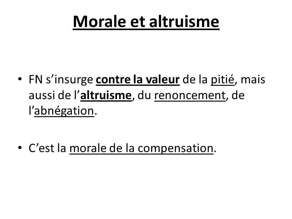 Morale et altruisme FN sinsurge contre la valeur de la pitié, mais aussi de laltruisme, du renoncement, de labnégation. Cest la morale de la compensat
