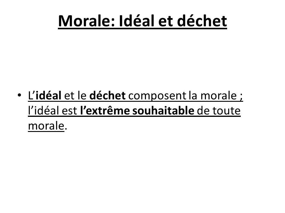 Morale: Idéal et déchet Lidéal et le déchet composent la morale ; lidéal est lextrême souhaitable de toute morale.