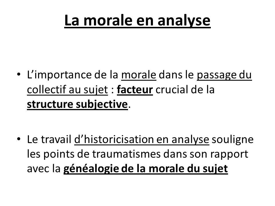 La morale en analyse Limportance de la morale dans le passage du collectif au sujet : facteur crucial de la structure subjective. Le travail dhistoric