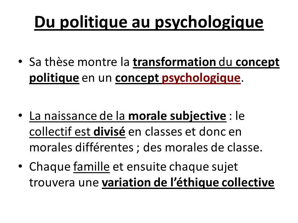Du politique au psychologique Sa thèse montre la transformation du concept politique en un concept psychologique. La naissance de la morale subjective