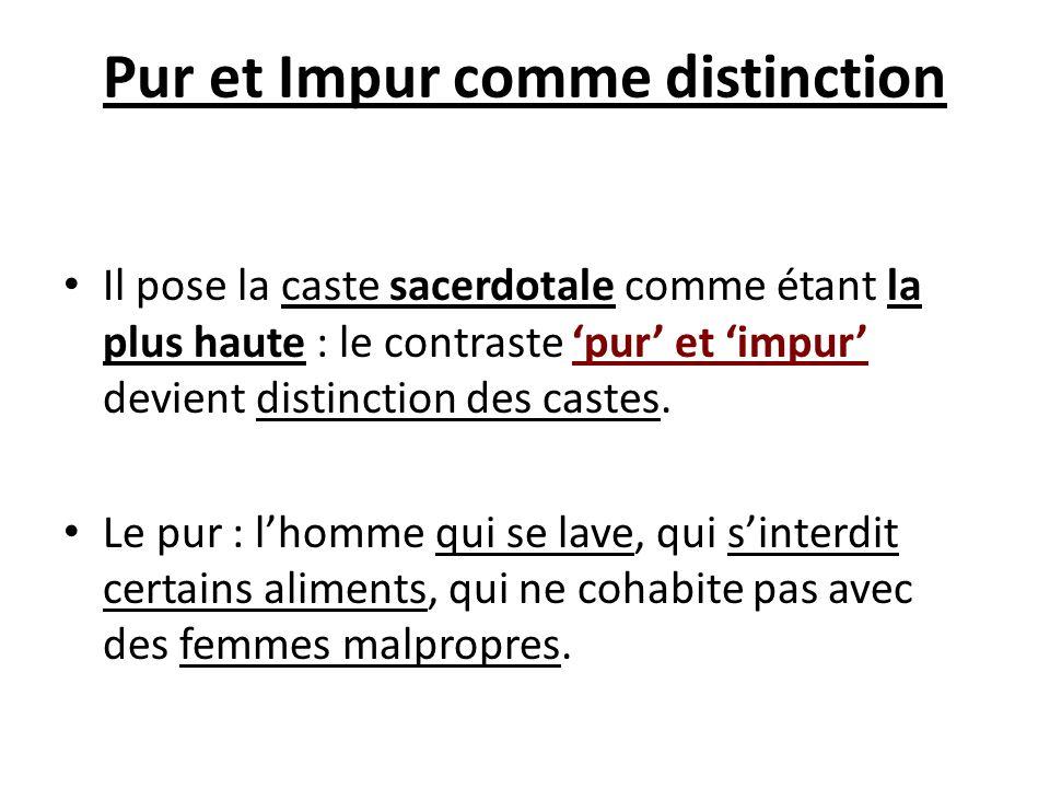 Pur et Impur comme distinction Il pose la caste sacerdotale comme étant la plus haute : le contraste pur et impur devient distinction des castes. Le p