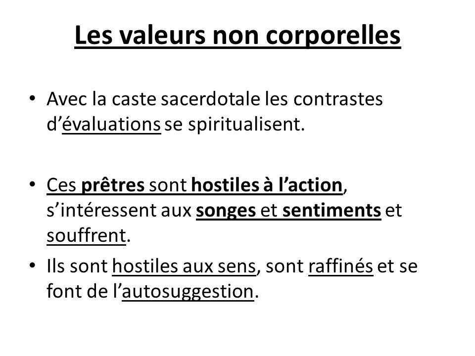 Les valeurs non corporelles Avec la caste sacerdotale les contrastes dévaluations se spiritualisent. Ces prêtres sont hostiles à laction, sintéressent